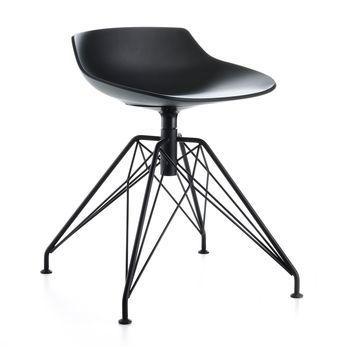 MDF Italia - Flow Hocker Gestell LEM - schwarz/Gestell schwarz/Sitzhöhe 44 cm