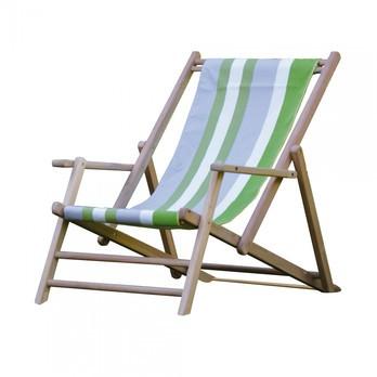 Jan Kurtz - Maxx Deckchair Designers Guild Liegestuhl - streifen tarifa leaf/Bezug 100% Polyacryl/BxHxT 64x98x112cm/Gestell Teak massiv