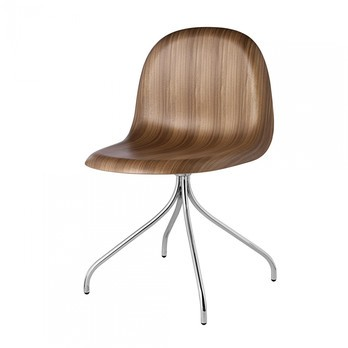 Gubi   Gubi 3D Dining Chair Drehstuhl Chrom   Walnuss/Sitzfläche ...