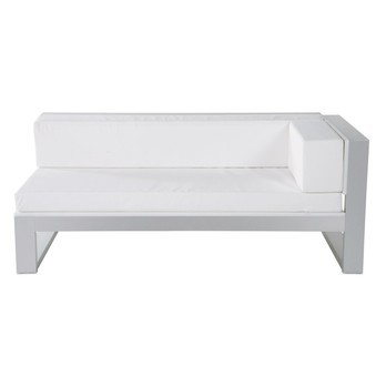 Gandia Blasco - Na Xemena Sofa Modul 1 - weiß/Gestell anodisiertes Alu/inkl. Auflagen in Náutica weiß/mit 1 Armlehne rechts/180x90cm