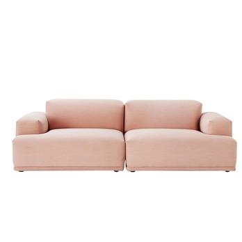 Muuto - Connect Lounge 2-Sitzer Sofa - rosa/Stoff Steelcut Trio 515/234x92cm