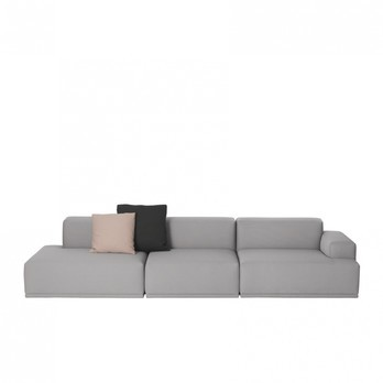 Muuto - Connect Lounge 3-Sitzer Sofa - hellgrau/Steelcut Trio 133/326x92cm/ohne Dekokissen