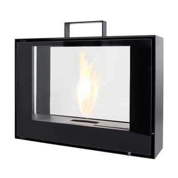 Conmoto - Travelmate Mobile Fireplace - black / 70x50x20cm/lacquered/incl. Burning Gel