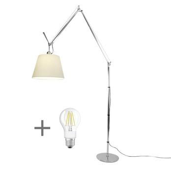 Artemide - Aktionsset Mega Terra Stehleuchte + LED - aluminium/Schirm Pergament/H: 238cm x Ø36cm/LED Leuchtmittel geschenkt