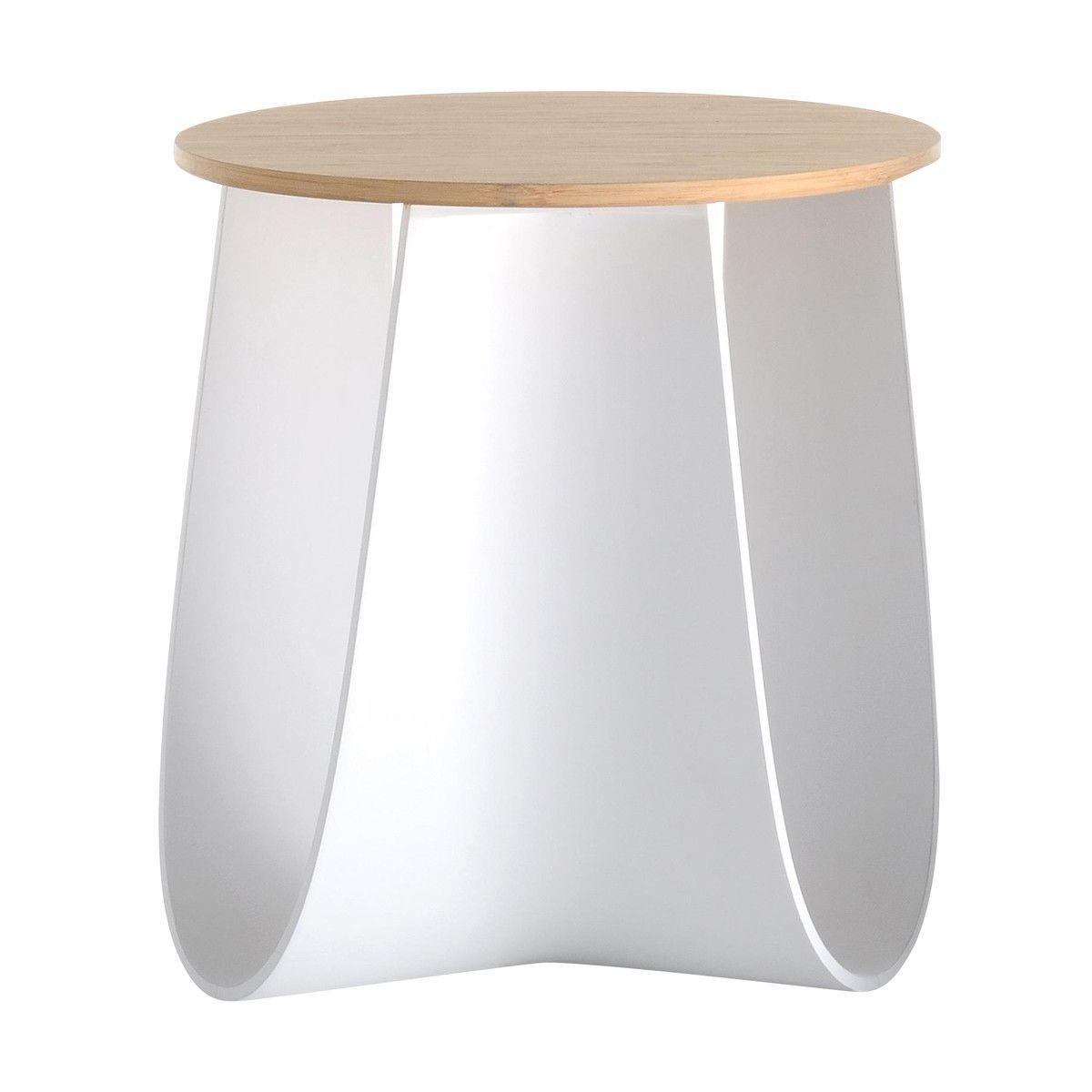 MDF Italia   Sag Stool/Side Table   White/bamboo/matt/Ø40cm