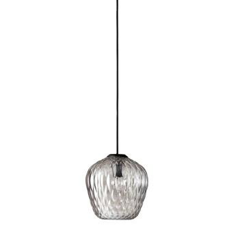 &tradition - Blown SW4 Pendelleuchte  - silber/Glas transparent/Ø 23cm / H 23cm/mit schwarzem Kabel