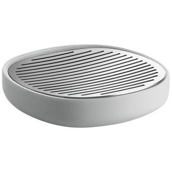 Alessi - Birillo Seifenschale - edelstahl/weiß/glänzend poliert/Ø 11cm/H: 3cm