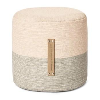 DesignHouseStockholm - Fields Pouf/Hocker - pink/beige/Polyurethanschaum/Styroporkern/H 40cm/Ø 40cm/Ledergriffe