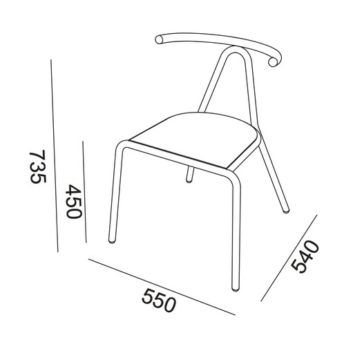 B-Line - Toro Stuhl Sitzfläche Esche - Strichzeichnung