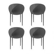 Driade - Set 4 chaises de jardin avec accoudoirs Soft Egg
