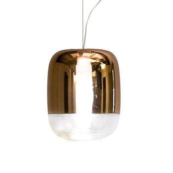 - Gong S1 Pendelleuchte - kupfer/metallisiert/H 21cm, Ø 18cm/Struktur Chrom