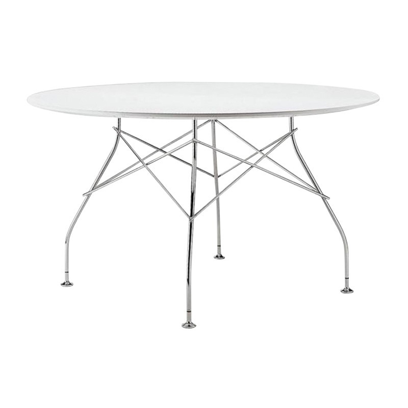 Attractive Kartell   Glossy Dining Table Round Frame Silver ...