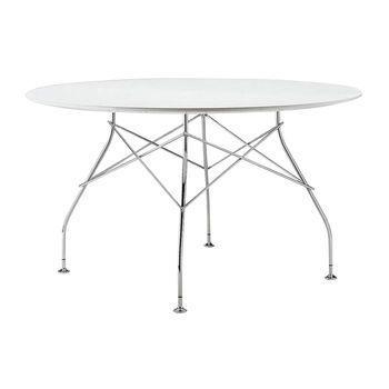 Kartell - Glossy Esstisch rund Gestell silber - weiß / HxØ 72x130cm/Laminat