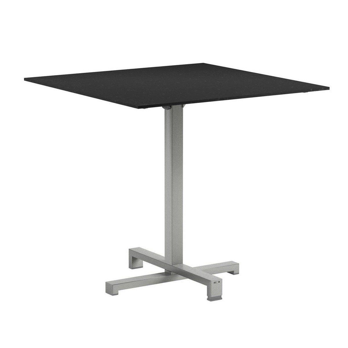 ... Royal Botania   Taboela Folding Table Frame Stainless Steel    Black/glass/LxWxH 80x80x75cm ...