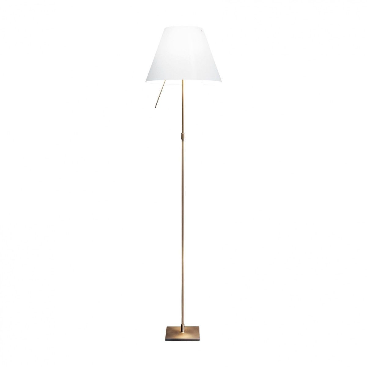limited edition costanza bronze floor lamp  luceplan  - luceplan  costanza bronze floor lamp  whiteframe bronzewith telescope touch