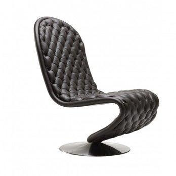 VerPan - System 1-2-3 Chair Low Lounge Deluxe - schwarz 314/Leder Savanne/Gestell gebürstets Aluminium