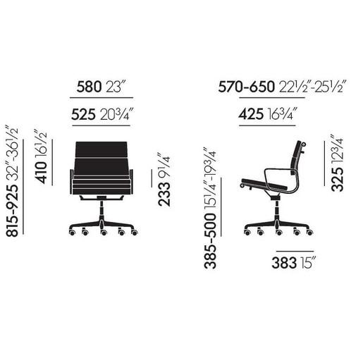 Vitra - Soft Pad Chair EA 217 Bürostuhl chrom - Strichzeichnung