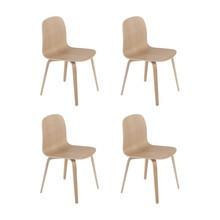 Muuto - Visu Stuhl mit Holzgestell 4er Set