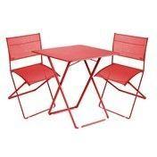 Fermob - Plein Air Gartenset - mohnrot/2 Stühle + 1 Tisch/Tisch 71 x71cm