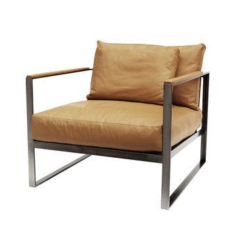 Röshults - Monaco Sessel - Leder beige/Gestell Eisen raw/B x T x H: 80 x 86 x 60cm