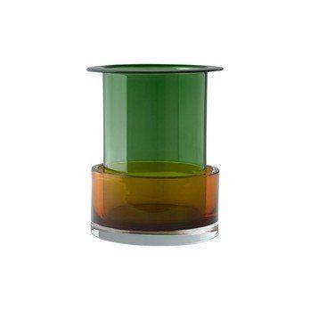 &tradition - Tricolore SH1 Vase 2er Set - Malachit/Cornaline/Innenvase: Ø 8cm/H 20cm/Außenvase: Ø 17cm / H 9cm