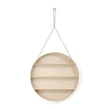 ferm LIVING - The Round Dorm Wandregal - buche natur/Lederband/7cm/Ø 55cm