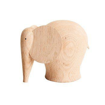Woud - Nunu Elephant Holzfigur  - eiche/L x B x H: 12.3 x 11.2 x 10cm/Größe 1