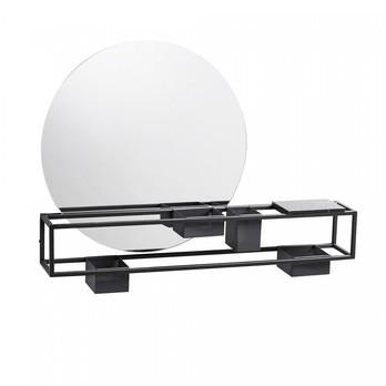 Woud - Woud Aufbewahrungsbox mit Spiegel - schwarz/matt/Spiegel Ø50cm/LxBxH 75x12x55cm