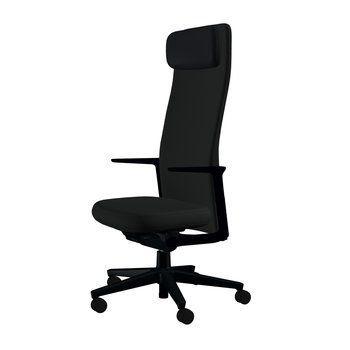 Vitra - Pacific Chair Bürostuhl hohe Rückenlehne - schwarz/Bezug Stoff 66 schwarz/BxHxT 57,5x120x56cm/Gestell schwarz/mit weichen Rollen