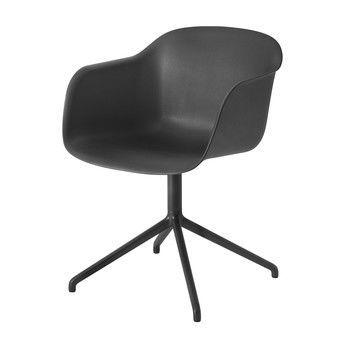 Muuto - Fiber Chair Drehstuhl - schwarz/Gestell schwarz/54.5x76.5x55cm