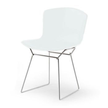 Knoll International - Bertoia Plastic Side Chair Stuhl Chrom - weiß/Polypropylen/Gestell chrom