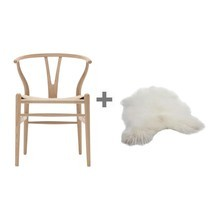 Carl Hansen - Aktionsset Wishbone CH24 Armlehnstuhl + Fell