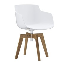 MDF Italia - Flow Slim Armchair With Oaken Legs