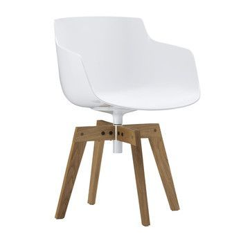 MDF Italia - Flow Slim Armchair With Oaken Legs - white/frame oak/natur