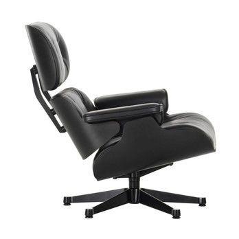 Vitra - Eames Lounge Chair XL neue Maße Drehsessel - Leder Premium tiefschwarz/Schale Esche schwarz/Gestell schwarz