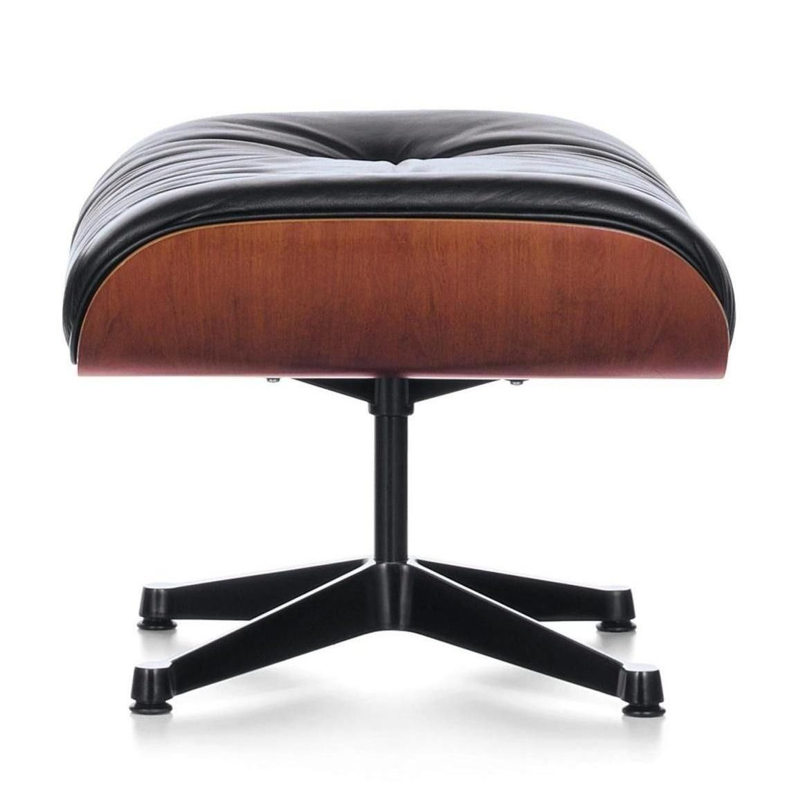 Vitra   Eames Lounge Chair Ottoman   Leather Premium Black/shell Natural  Cherry Wood/