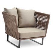 Kettal - Bitta Club Armchair / Garden Chair - brown/incl. seat and 2 back cushions