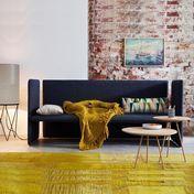 More - Blow Lounge Bank mit Rückenlehne - dunkelblau/Stoff Rami 4462/ohne Dekoration