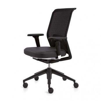Vitra - ID Mesh Bürostuhl - nero schwarz/Gestell basic dark/Silk Mesh/Diamond Mesh/mit Vorwärtsneigung + Sitztiefenverstellung/mit 2D-Armlehnen/mit weichen Rollen