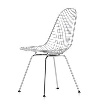 Vitra - Eames Wire Chair DKX Stuhl H43cm - glanzchrom/mit Filzgleitern in basic dark schwarz/neue Höhe