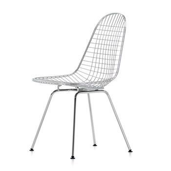 - Eames Wire Chair DKX Stuhl H43cm - glanzchrom/mit Filzgleitern in basic dark schwarz/neue Höhe