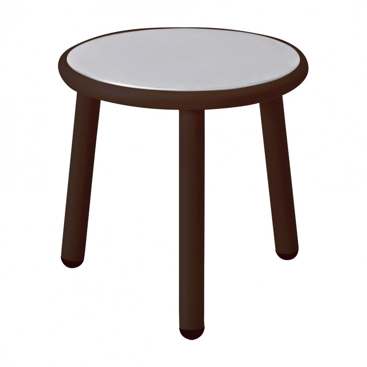 Emu   Yard Garden Side Table Ø 40cm   Indian Brown/light Grey/glossy