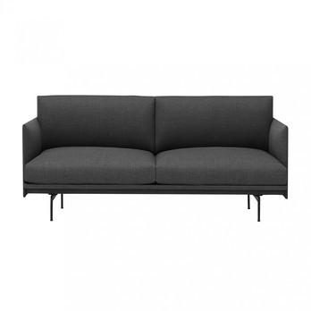 Muuto - Outline Sofa 2 Sitzer - anthrazit/Stoff Kvadrat Remix 163/BxHxT 170x69.5x84cm/Gestell Aluminium schwarz pulverbeschichtet