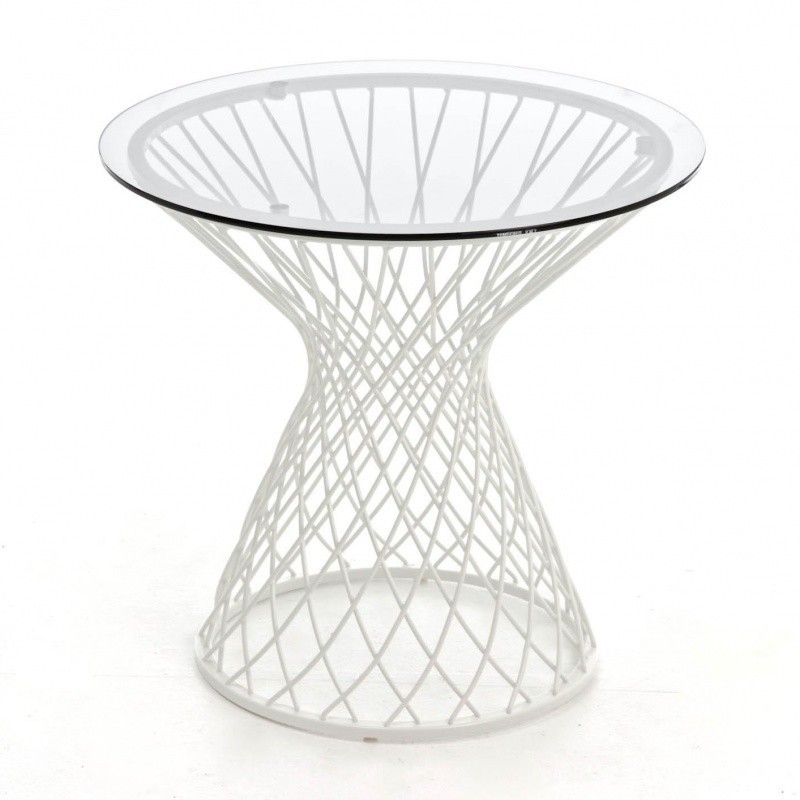 ... Emu   Heaven Side Table Ø45cm   White/Top Plate Transparent/frame Matt/  ...