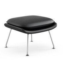 Knoll International - Womb Chair Relax Leather Ottoman Frame Chrome
