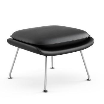 Knoll International - Womb Chair Relax Leder Ottoman Gestell chrom - schwarz/Leder Volo VOBLK/Gestell Chrom