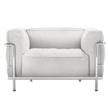 Cassina - Le Corbusier LC3 Outdoor Sessel - snow weiß/Stoff Outdoor Sunbrella Sling/Gestell stahl glänzend gebürstet/Inkl. Schutzhülle für den Winter!