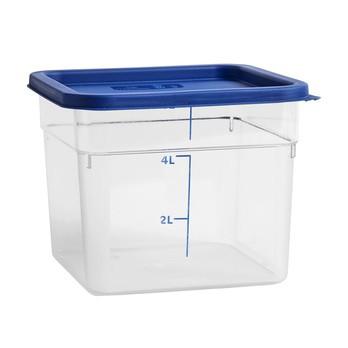 HAY - Kitchen Market Behälter mit Deckel 6L - transparent/Deckel blau/LxBxH 22x22x18cm