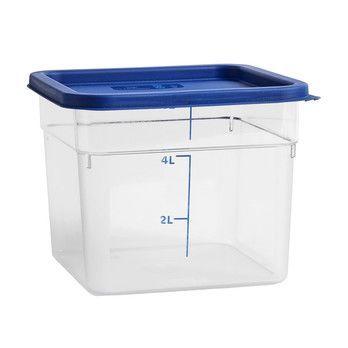 - HAY Behälter mit Deckel 6L - transparent/Deckel blau/LxBxH 22x22x18cm