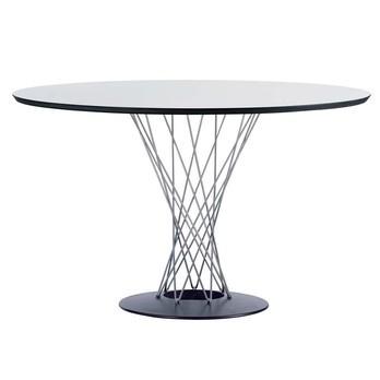 Vitra - Noguchi Dining Table Tisch - weiß/Tischkante schwarz/Gestell Stahlrohr/Ø121cm